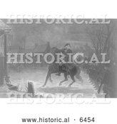 Historical Illustration of Washington at the Battle of Trenton - Black and White by Al