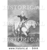 Historical Illustration of Washington Receiving a Salute on the Field of Trenton - Black and White by Al