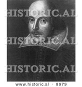 Historical Illustration of William Shakespeare Posing - Black and White Version by Al