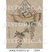 Historical Illustration of Wisteria Plant Growing in a Pot Shaped like a Boat by Al