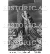 Historical Illustration of Woman Resting Against a Wooden Cross While in Stormy Sea - Black and White Version by Al