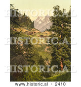 Historical Illustration of Zmutt Valley with Mischabelhorner Group, Switzerland by Al
