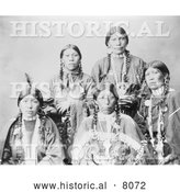 Historical Image of 5 Female Native American Ute Indians 1899 - Black and White by Al