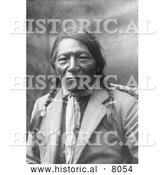 Historical Image of a Chief White Crow, Native American Indian 1902 - Black and White by Al