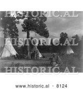 Historical Image of a Flathead Native American Indian Camp, Jocko River 1910 - Black and White by Al
