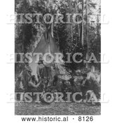 Historical Image of a Flathead Native American Indian Gathering - Black and White by Al