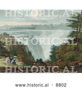 Historical Image of a Man and Three Ladies Picnicking at Goat Island by the American Falls, Niagara Falls by Al