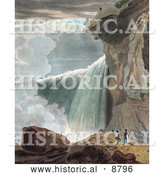 Historical Image of a Man at the Ledge of a Cliff, Looking down at Other People at Niagara Falls by Al