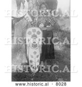 Historical Image of a Native American Flathead Mother with Baby 1910 - Black and White by Al