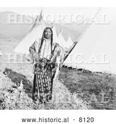 Historical Image of a Native American Indian Chief Charlot 1908 - Black and White by Al