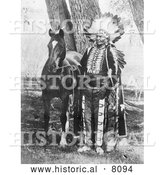 Historical Image of a Native American Indian Chief Ignacio with Horse 1904 - Black and White by Al