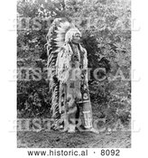 Historical Image of a Native American Indian Chief Umapine 1913 - Black and White by Al