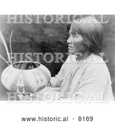 Historical Image of a Native American Indian Lake Mono Basket Maker 1924 - Black and White by Al