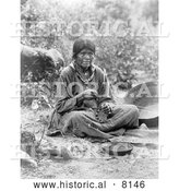 Historical Image of a Native American Indian Paiute Basket Maker 1902 - Black and White by Al