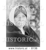 Historical Image of a Native American Indian Wappo Woman 1924 - Black and White by Al
