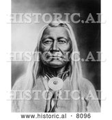 Historical Image of a Native American Indian Washakie, Chief of Shoshones 1900 - Black and White by Al