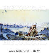 Historical Image of a Native American Man in the Cold by a Fire Watching a Plane Fly Above 1914 by Al