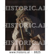 Historical Image of a Tired Senior Arab Man Sitting and Leaning Against His Cane, Yemen by Al