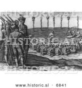 Historical Image of a Triumphant and Solemn Ritual in Celebration of the Defeat of an Enemy - Native American Indians - Black and White Version by Al