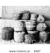 Historical Image of Aleutian and Eskimo Baskets - Black and White Version by Al