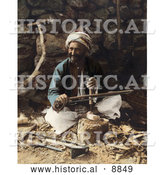 Historical Image of an Arab Carpenter Man Smiling and Posing While Making Plows by Al
