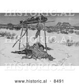 Historical Image of an Indian Warrior Laid to Rest 1891 - Black and White Version by Al