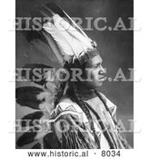 Historical Image of Batchese, Native American Indian 1902 - Black and White by Al