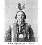 Historical Image of Buckskin Charlie, Native American Indian 1899 - Black and White by Al