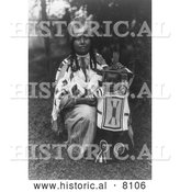 Historical Image of Cayuse Native American Indian Mother with Baby 1910 - Black and White by Al