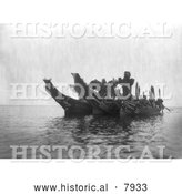 Historical Image of Ceremonial Dancers in Canoes 1914 - Black and White by Al