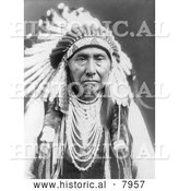 Historical Image of Chief Joseph, a Native American Indian 1903 - Black and White by Al