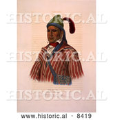 Historical Image of Creek Indian Warrior Named Me-Na-Wa by Al