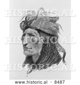 Historical Image of Creek Native American - Black and White Version by Al