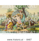 Historical Image of Daniel Boone Protecting His Family by Al