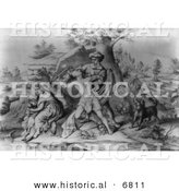 Historical Image of Daniel Boone Protecting His Family from a Native American by Al
