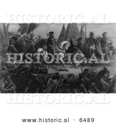 Historical Image of De Soto Discovers the Mississippi - Black and White Version by Al