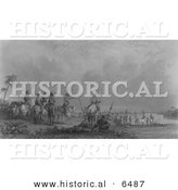 Historical Image of De Soto. Tampa Bay, Florida 1539 - Black and White Version by Al