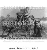Historical Image of Discovery of the Mississippi 1541 - Ferdinand De Soto - Black and White Version by Al