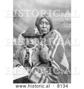 Historical Image of Eggelston Native American Indian Mother Sitting with Her Child 1902 - Black and White by Al