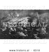 Historical Image of Explosions During the Battle of Manila Bay 1898 - Black and White Version by Al