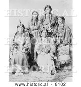 Historical Image of Five Ute Native American Indian Women 1899 - Black and White by Al