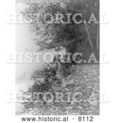 Historical Image of Flathead Native American Indian Woman by River 1910 - Black and White by Al