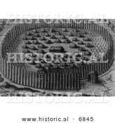 Historical Image of Fortified Village of Houses of Florida Indians - Black and White Version by Al