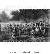 Historical Image of George Washington - Battle of the Monongahela - Black and White Version by Al