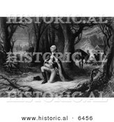 Historical Image of George Washington: the Prayer at Valley Forge - Black and White Version by Al