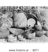 Historical Image of Karok Baskets 1923 - Black and White Version by Al