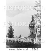 Historical Image of Klamath Indian Chief at Crater Lake 1914 - Black and White Version by Al