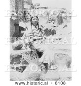 Historical Image of Klickitat Native American Indian Woman Seated near Baskets 1900 - Black and White by Al