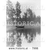 Historical Image of Kootenai Indian Camp 1910 - Black and White by Al
