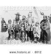 Historical Image of Kootenai Indian Natives 1907 - Black and White by Al